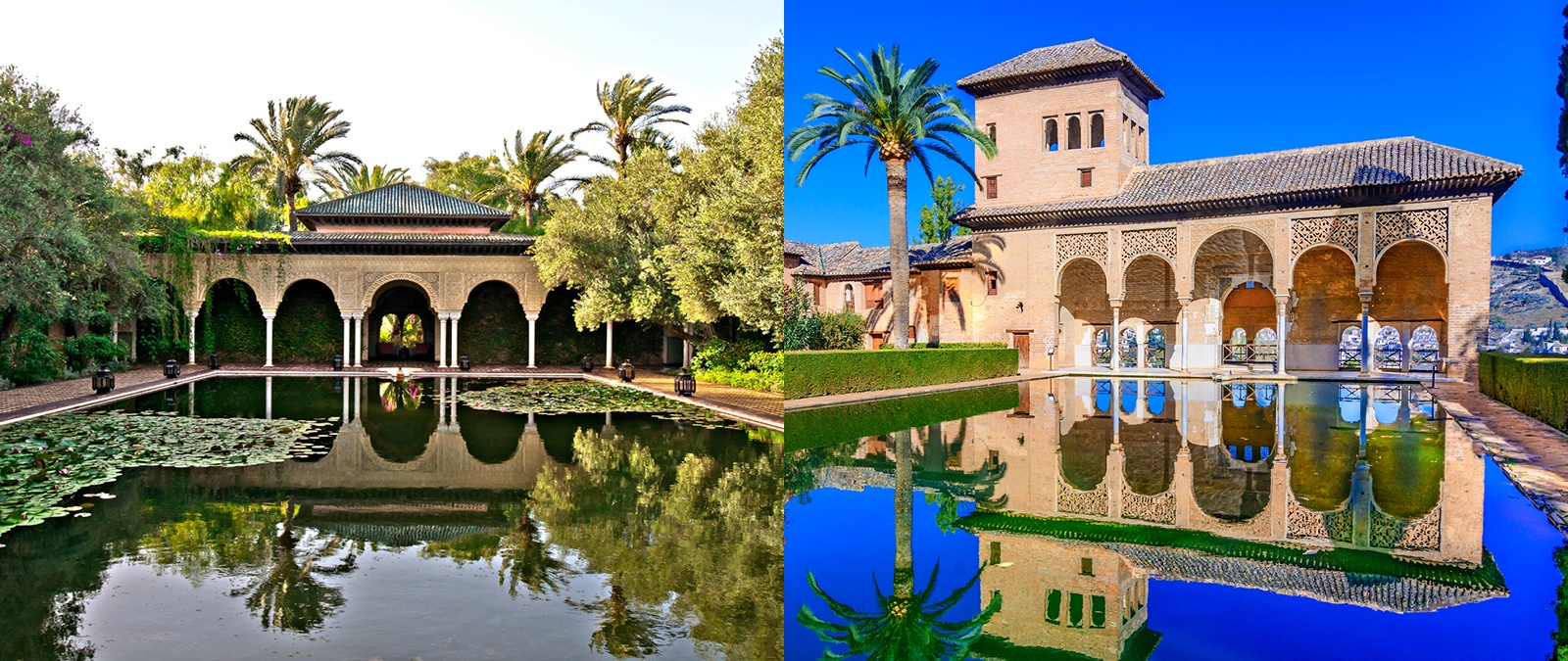 "<b><em>Left</em>: <a href=&quot;http://www.christiesrealestate.com/eng/sales/detail/170-l-78232-f1306040421700036/sale-villa-marrakesh-marrakesh-mh-40000&quot;target=&quot;_blank&quot;>Villa Marrakesh</a></br></b>This palatial villa in Marrakesh, Morocco, was built as an ode to one of Spain's historic architectural treasures, the Alhambra. The pavilion and reflecting pool echo the design of the Alhambra's Torre de las Damas (Ladies' Tower).</br></br><b><em>Right</em>: The Alhambra</br></b> The vast fortress and palace complex was built between the 9th and the 14th centuries. Its name, which means ""the red one"" in Arabic, is thought to be derived from the reddish color of the gravel and clay bricks which form the outer ramparts."