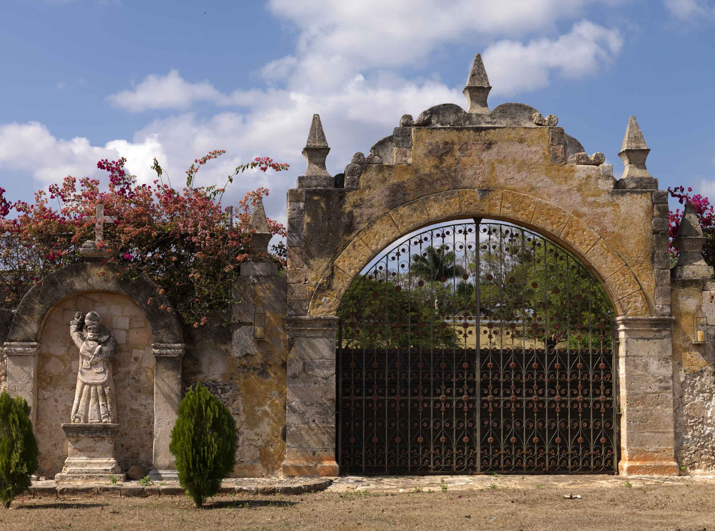 Hacienda San Bernardo, a palatial estate on the Yucatan Peninsula, is rooted in Mexican history. The tropical grounds reveal a treasure trove of sculptures, statuary, and water features.