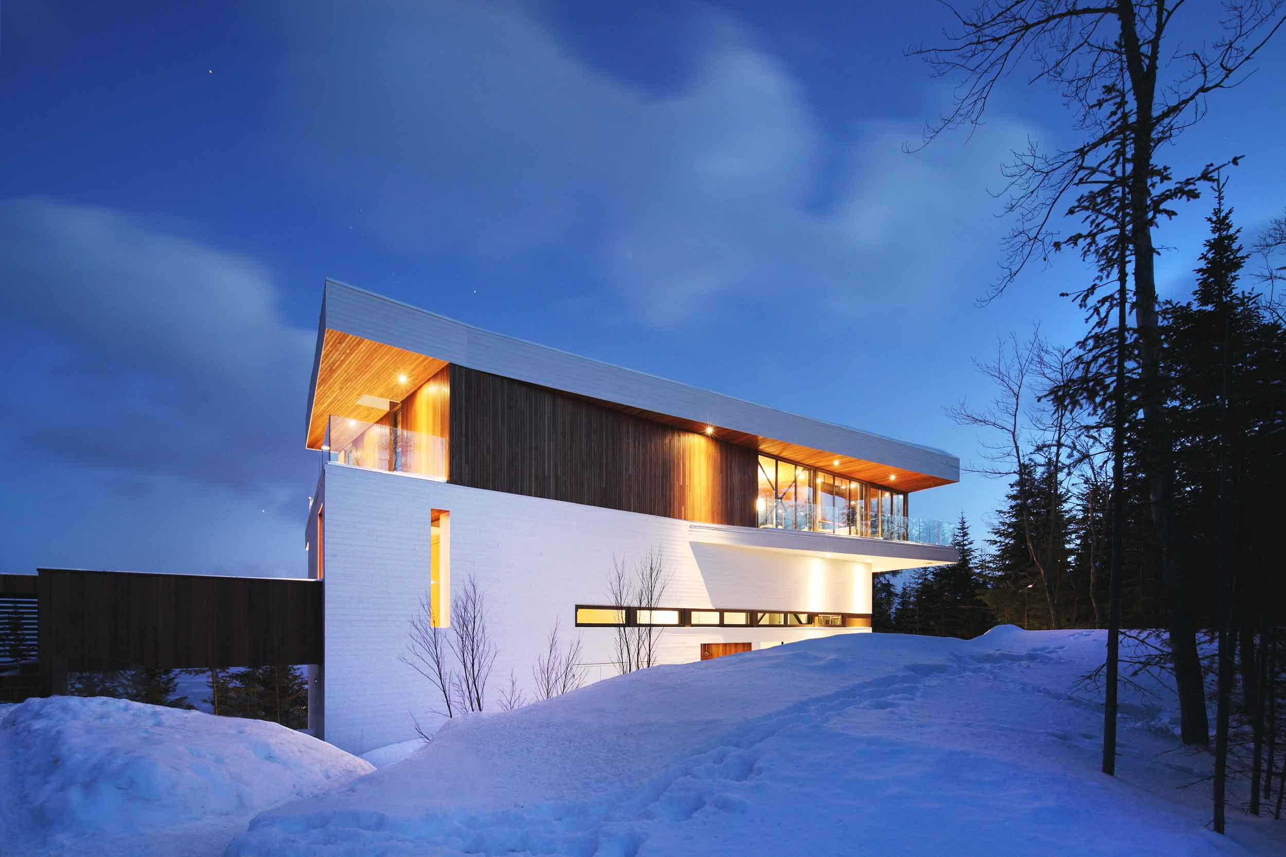 This striking contemporary home overlooking the Massif ski area in Charlevoix, Quebec, was designed by Bourgeois/Lechasseur Architectes and is the recipient of the 2014 Nobilis prize.