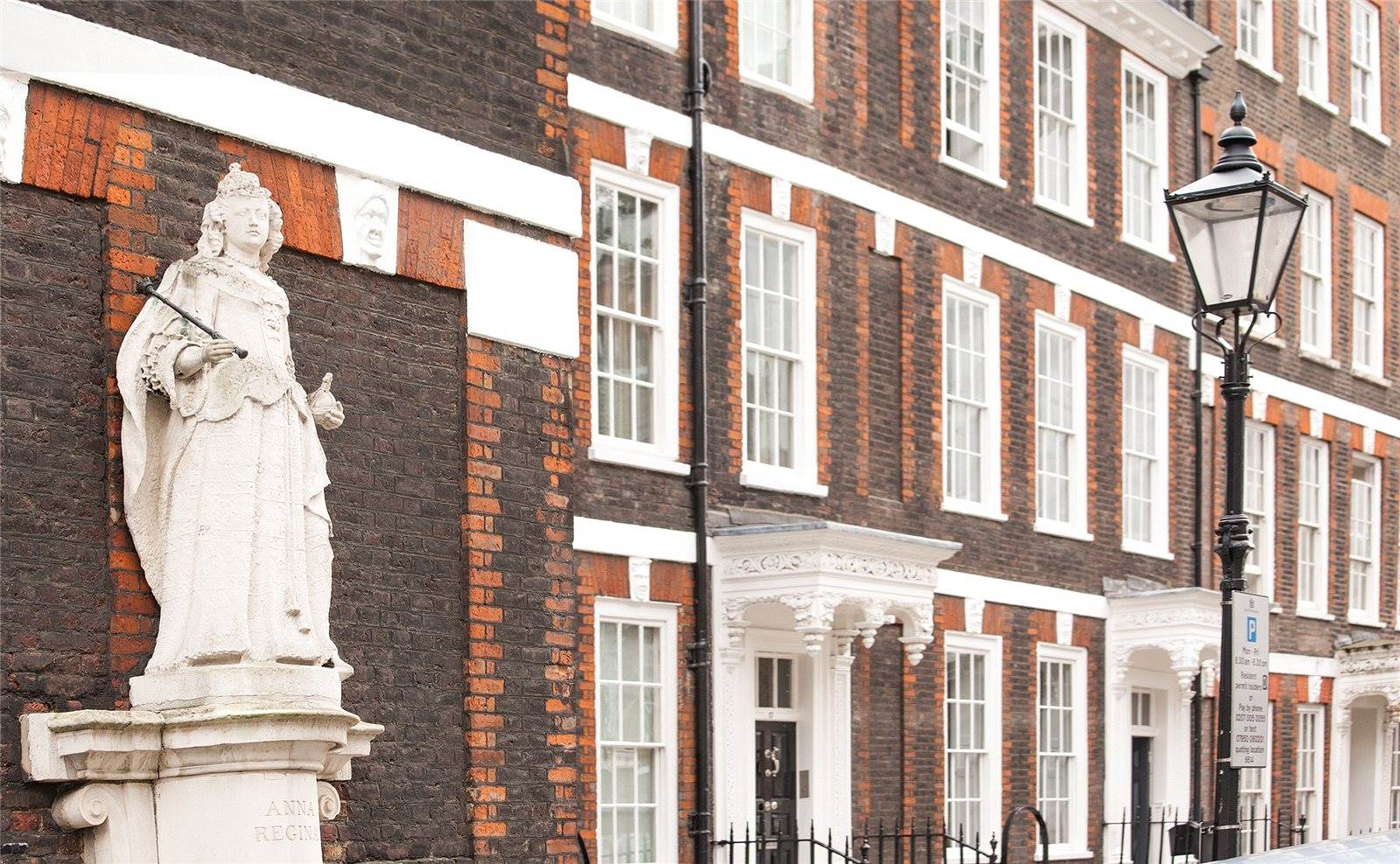 Number 15 Queen Anne's Gate in Westminster is one of the London's finest extant examples of the Queen Anne baroque style. At the north flank of the house, a circa-1705 statue of Queen Anne overlooks the street which bears her name.