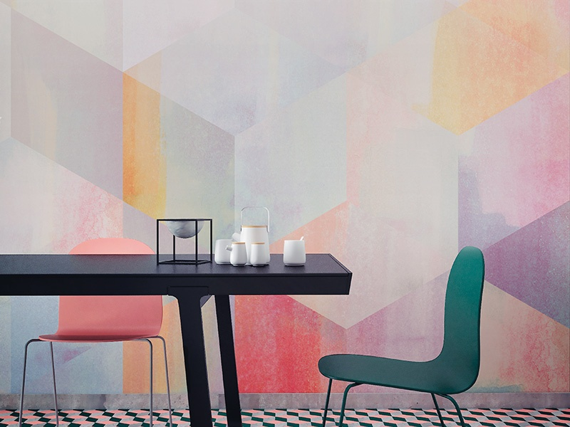 A large-scale geometric design with a gentle ombré effect, the Watercolour Geometric wallpaper from Newmor is inspired by painterly techniques.
