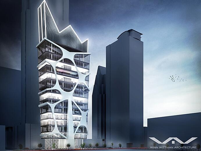 A mixed-use tower, the (as yet unbuilt) Murcielago concept has been designed by Winn Wittman Architecture in honor of Austin's colony of Mexican free-tailed bats.