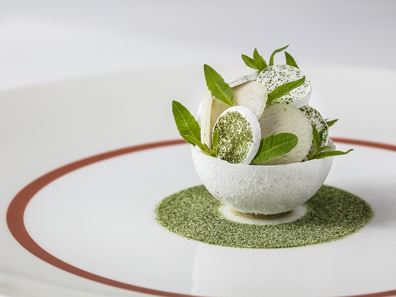 A sweet and tangy—and visually stunning—pear sorbet is on the menu at Core by Clare Smyth, her first solo venture.