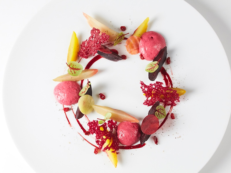 Beetroot and bourbon pointu coffee, baked in a salt crust with foam and barberry—on the menu at La Dame de Pic London.