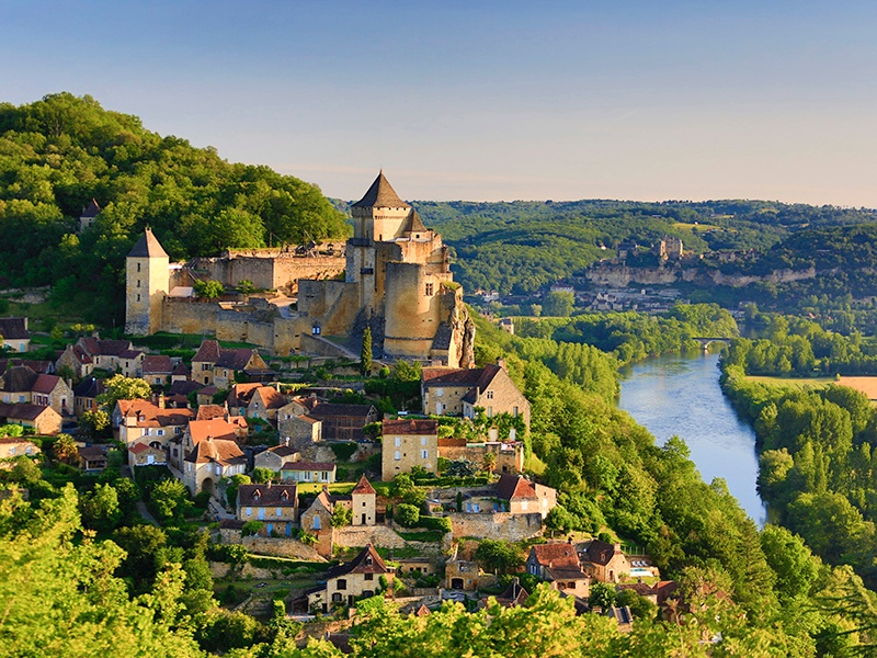 Chateau de Castelnaud offers magnificent views of the peaceful villages of the Ceou valley and the winding Dordogne river. Photograph: Getty Images