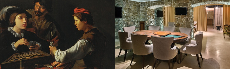 <i>Left: </i><b><a href=&quot;http://www.christies.com/lotfinder/paintings/pietro-paolini-the-cardsharps-6068905-details.aspx&quot; target=&quot;_blank&quot;>THE CARDSHARPS</b></a><br/>Pietro Paolini<br/>oil on canvas<br/><i>Price Realized $1,147,5000 USD</i><br/><br/><i>Right: </i><b><a href=&quot;http://www.christiesrealestate.com/eng/sales/detail/170-l-82513-1702240927319206/darlington-new-york-metro-mansion-mahwah-nj-07430&quot; target=&quot;_blank&quot;>GILDED GAMING AT DARLINGTON</b></a><br/>Meticulously renovated 1907 mansion<br/>Mahwah, New Jersey</br><i>Asking price: $48,000,000</i>