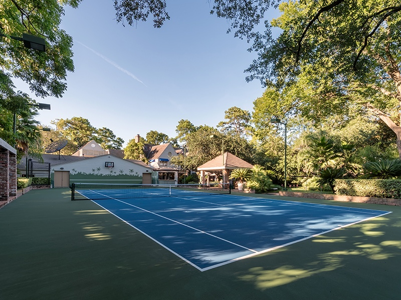 9 West Lane also has a fully lit tennis court and small golf course on the property. Photograph: Nan and Company Properties
