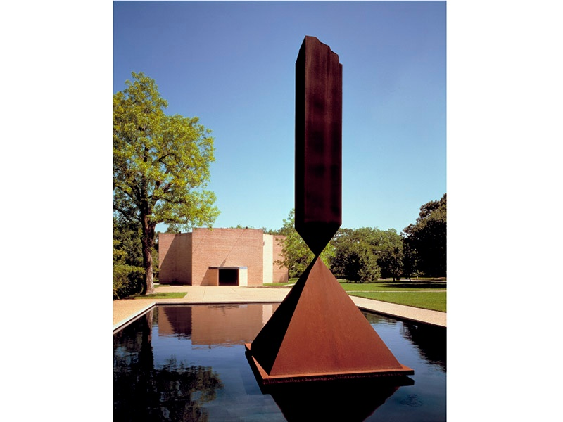 Rothko Chapel contains 14 murals created by artist Mark Rothko. Outside, Barnett Newman's <i>Broken Obelisk</i>—dedicated to Martin Luther King, Jr.—rises above the reflecting pool on the plaza. Photograph: Hickey-Robertson