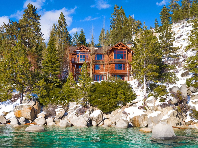 1196 Lakeshore Boulevard benefits from 80 feet of Lake Tahoe shoreline. Photograph: Oliver Luxury Real Estate