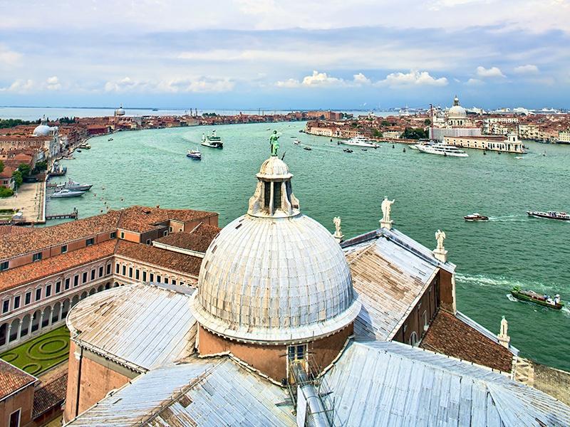 For a quieter bird's-eye view of Venice, visit the campanile of San Giorgio Maggiore. Photograph: Shutterstock