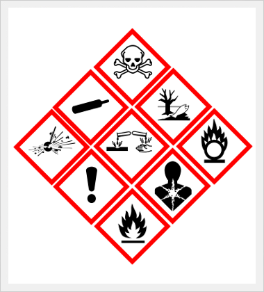 GHS pictograms for chemical hazards