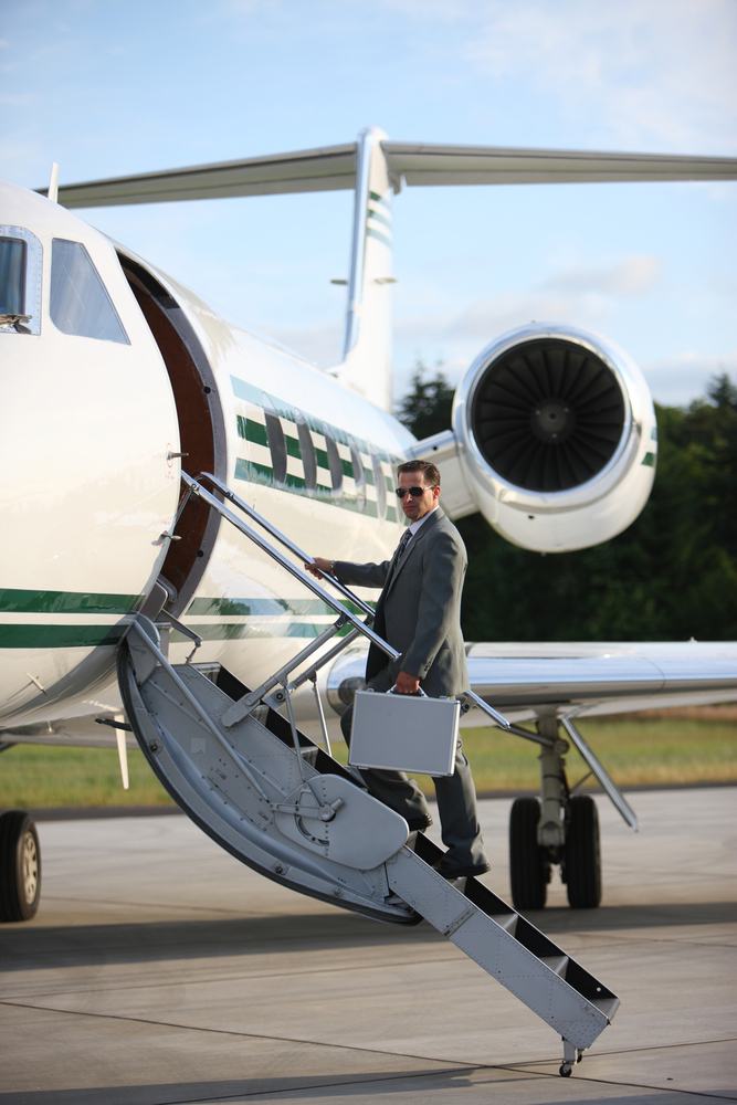 Man Boarding Private Air Charter Flight