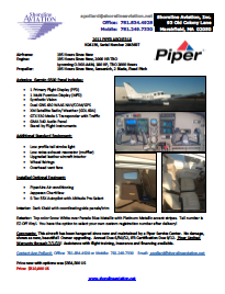 Used Piper Archer LX 2011 n24139 Spec Sheet