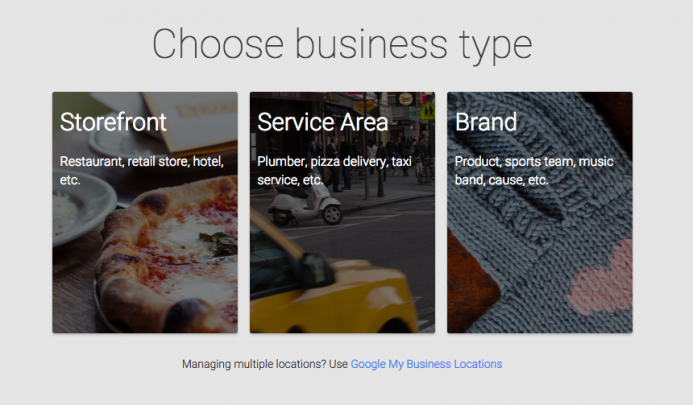 Choose Business Type from Google My Business