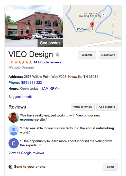 VIEO Design local search listing