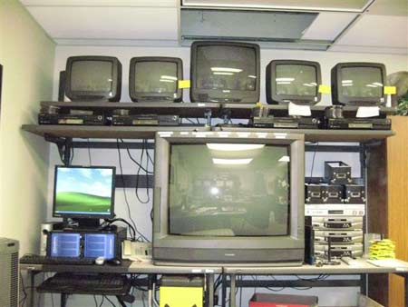 Plano Police Department's old VCR and VHS tape setup