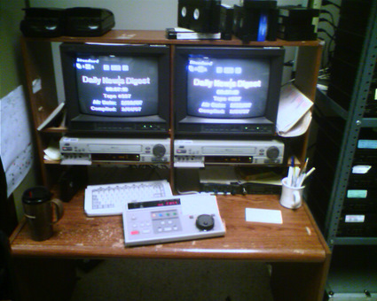 VHS tape dubbing station at a law enforcement agency