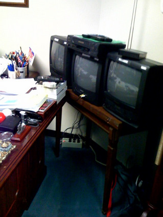 TVs and VCRs at a congressional office