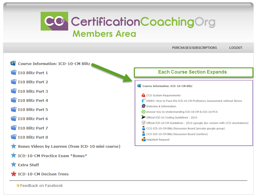 ICD-10-CM Proficiency Exam Course Members Access Area Overview