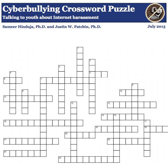 cyberbullying crossword puzzle for kids
