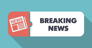 Breaking News Concept in Flat Design with Long Shadows on Blue Background.