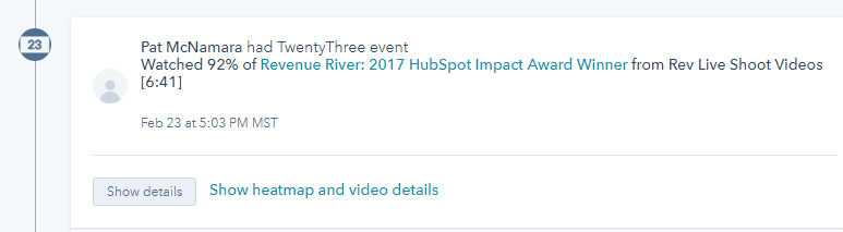 TwentyThree's HubSpot integration