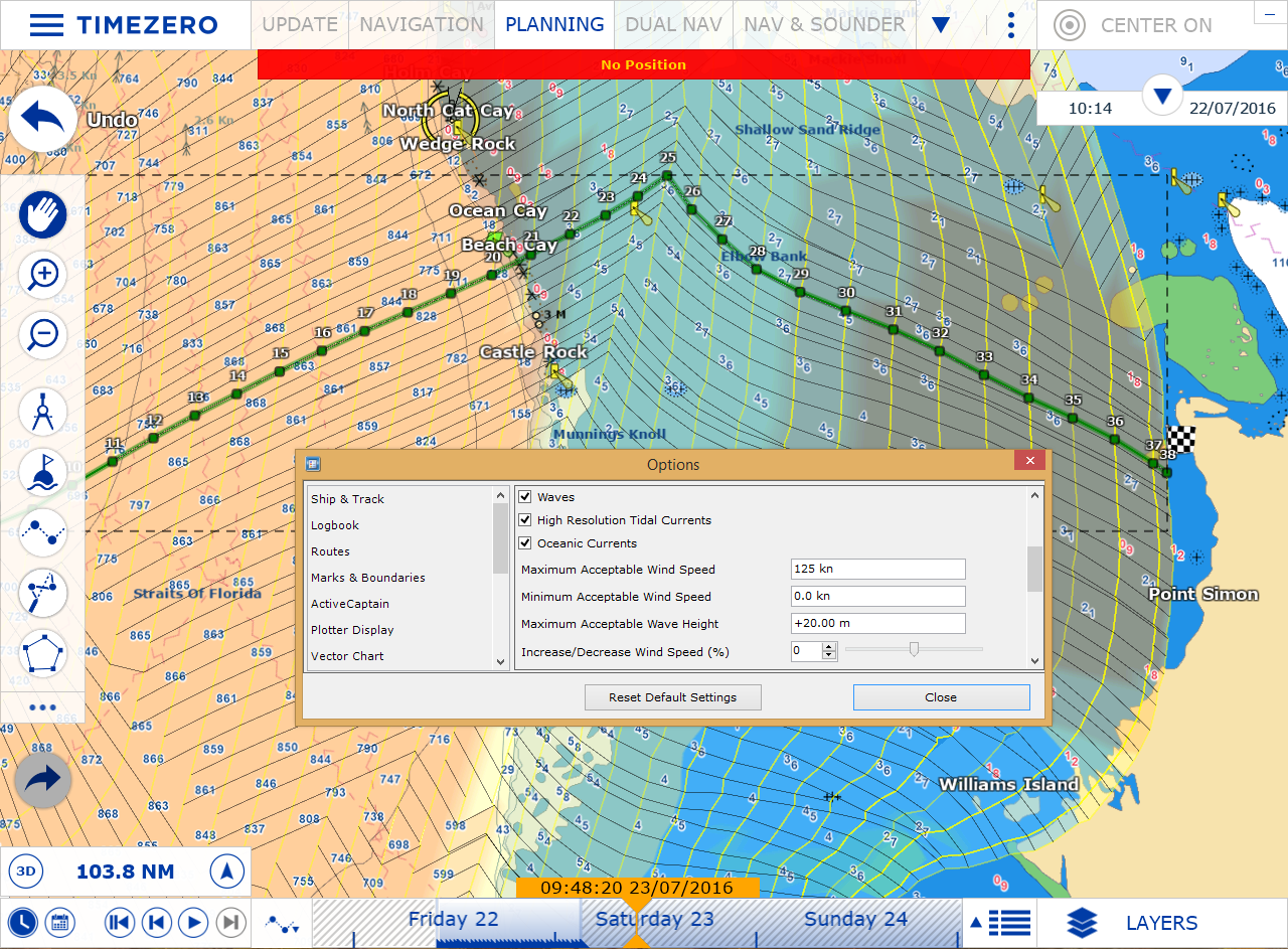 Weather Routing module TZ Navigator v3 limited wind and waves settings