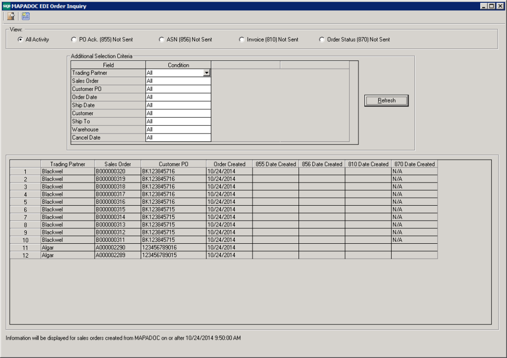 MAPADOC EDI for Sage 500 ERP Order Inquiry Screen