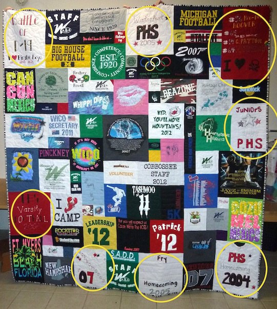 Using homemade t shirts in your t shirt quilt