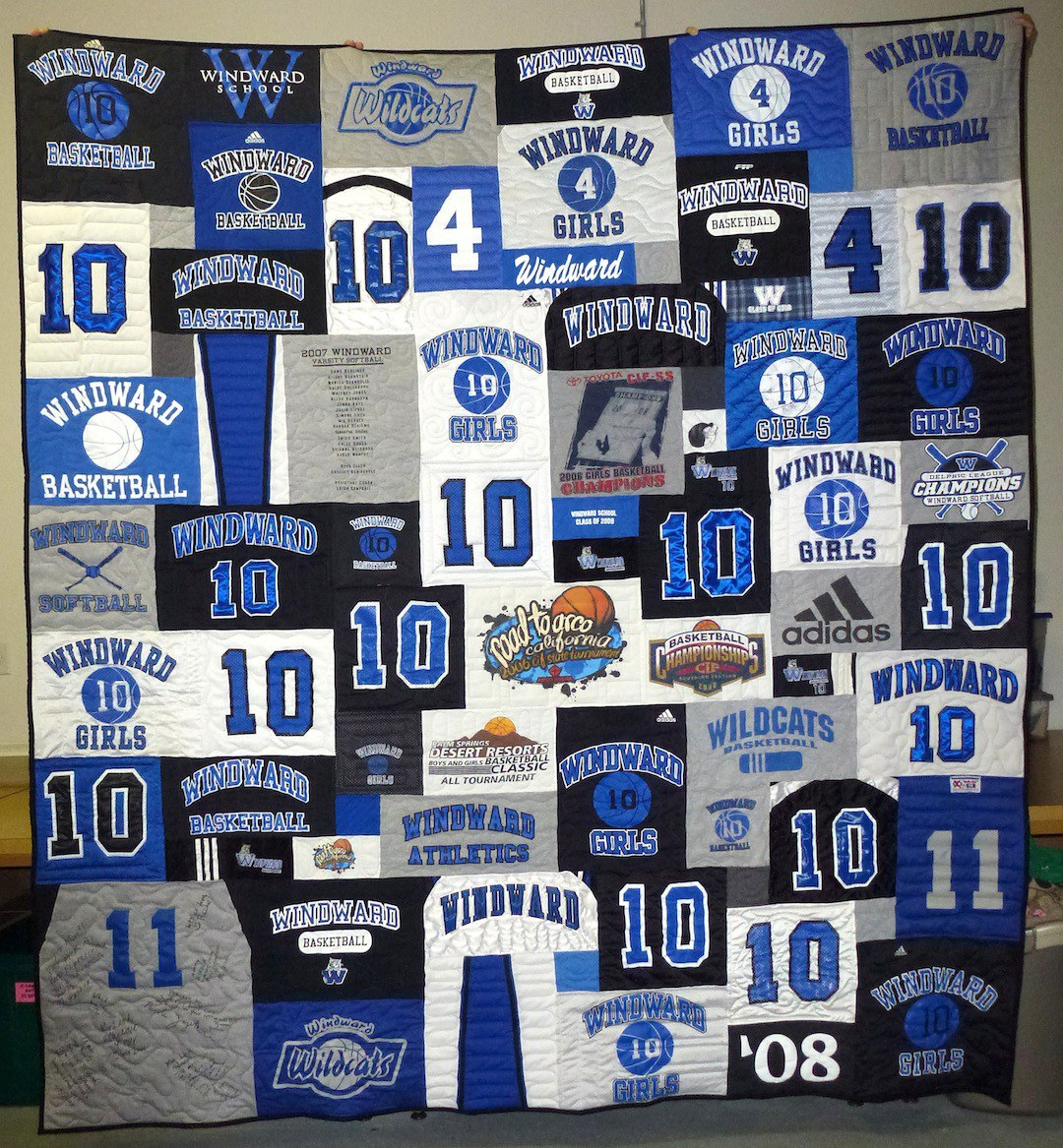 T-shirt Quilts made with T-shirts with Numbers on Them