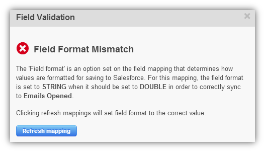 Field Format Mismatch Error