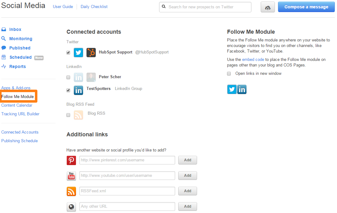 How do i add links to my social media pages to my hubspot template pronofoot35fo Gallery