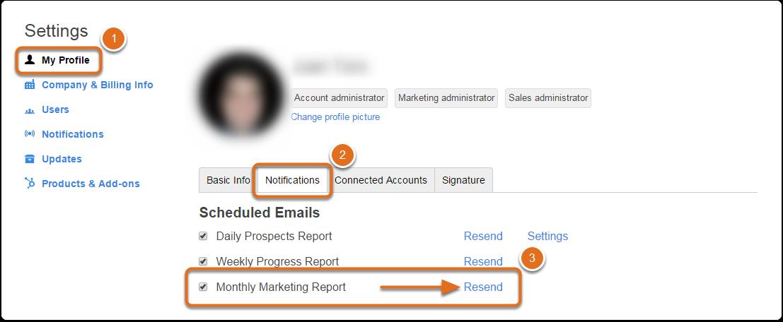 Wie sende ich meinen monatlichen Marketing-Bericht erneut?