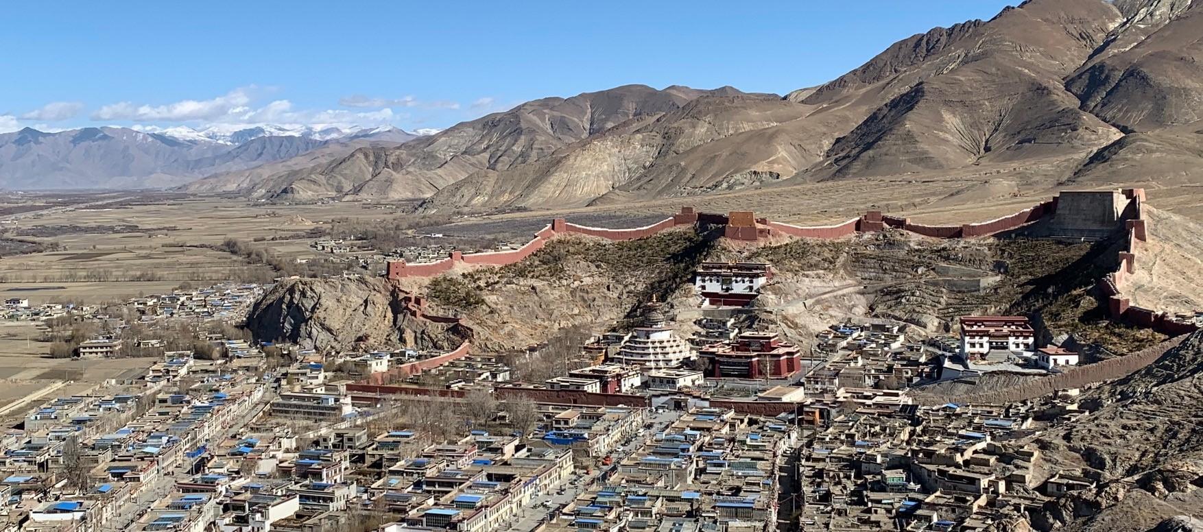 Panoramic view of the city of Gyantse, Tibet.