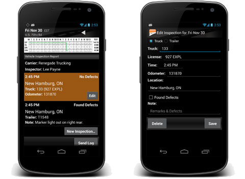 Android phones showing BigRoad app driver log details and inspection reports