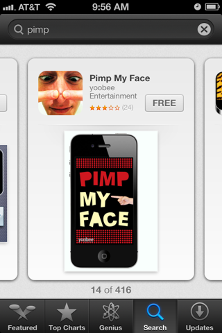 pimp my face app, pimple pop app, gross apps, Whipp list of odd apps