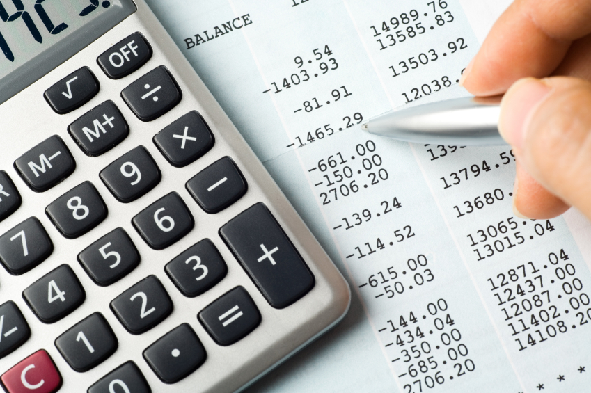 Calculator and balance sheet