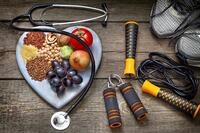 stethoscope healthy food exercise