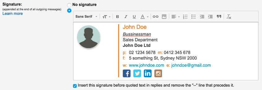 Signature pasted into Gmail