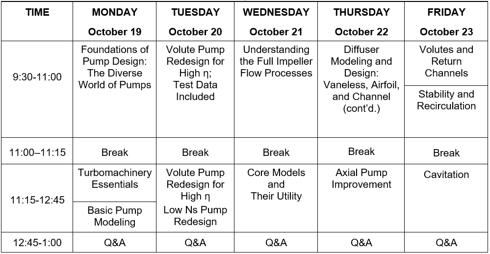 2020 Pump Course Schedule 1