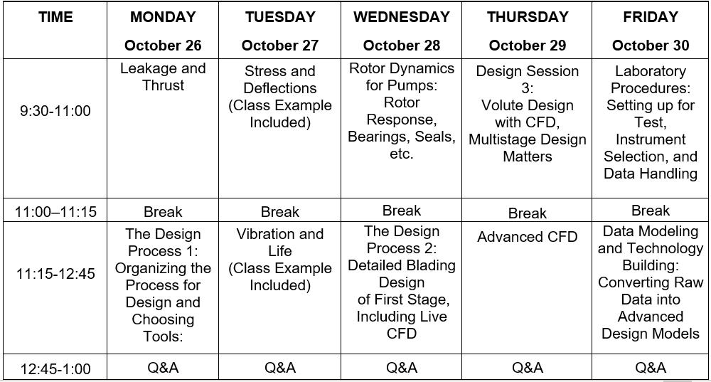 2020 Pump Course Schedule 2