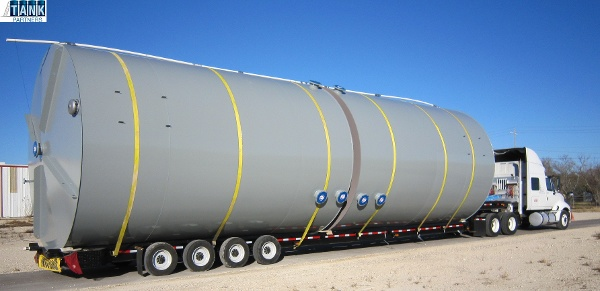 Efficiency at transport with two 750 BBL tanks on the one trailer.
