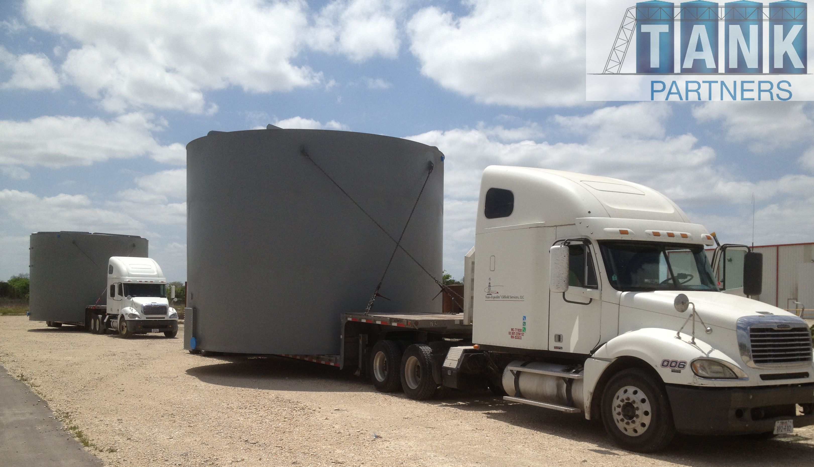Tank Partners Manufactures 1000 BBL low and high profile tanks. These tanks are low profile, 21'6