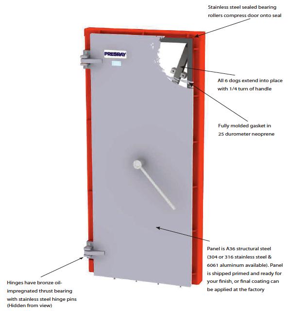 Presray d3dqa flood mitigation door watertight door with for Salt air resistant door hardware