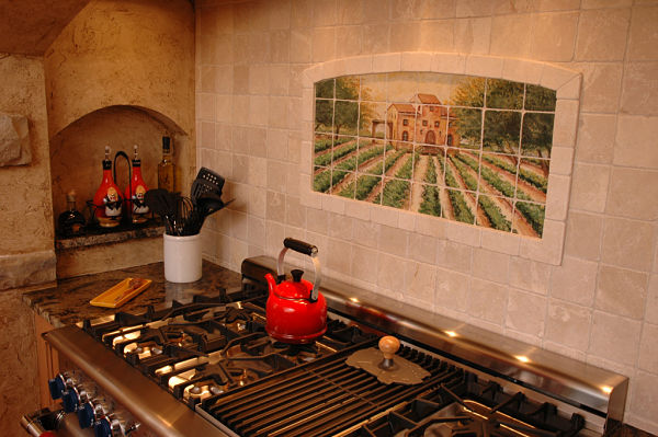 country french kitchen with painted tile backsplash