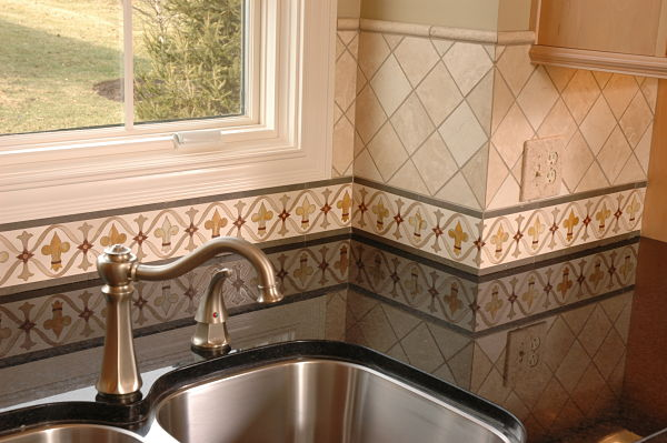 hand-painted-kitchen-border-tile-backsplash Painted Kitchen Backsplash Ideas Diamond on diamond floor ideas, diamond kitchen tiles, diamond kitchen cabinets, diamond tile ideas, diamond paint ideas,