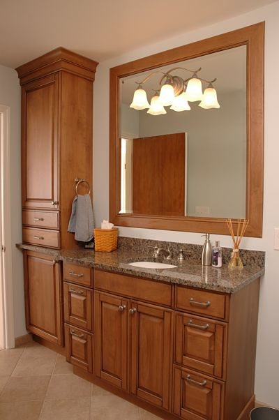 Cabinet knobs and pulls matched to bathroom fixtures - Bathroom vanity knobs and handles ...