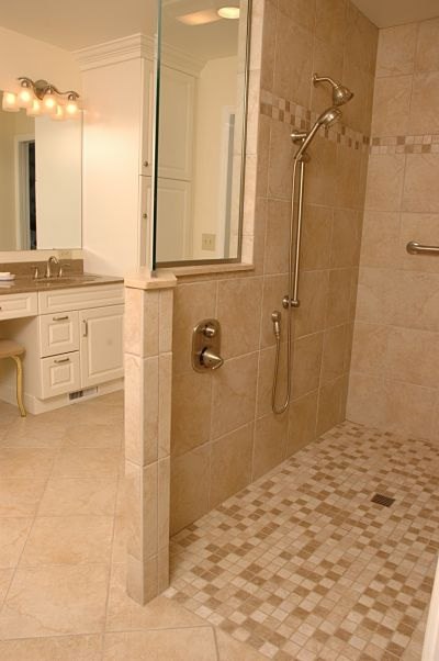 12 universal design features for any bathroom for Slip resistant bathroom flooring