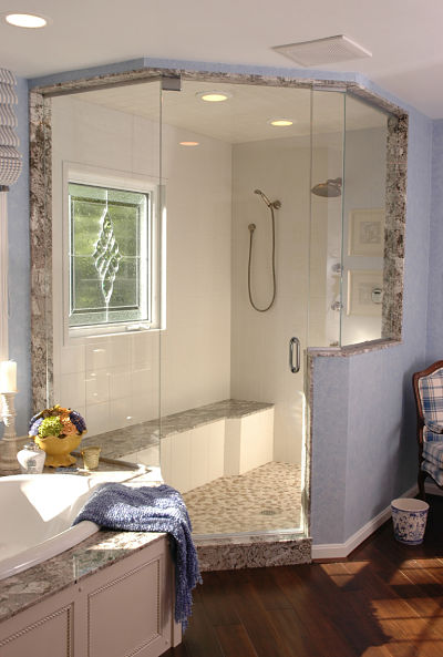elegant master bathroom with a walk in shower - Walk In Shower Design Ideas