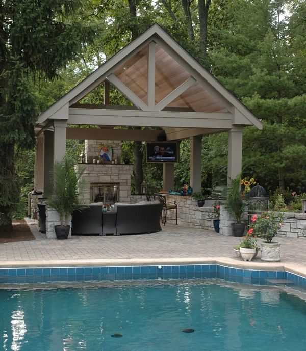 Project spotlight backyard poolside pavilion for Outdoor pavilion plans